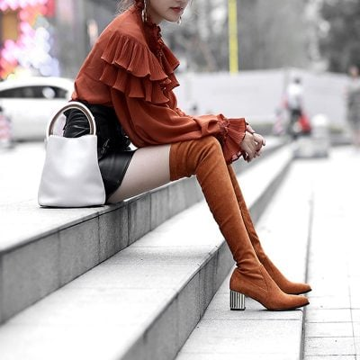 Chiko Courtnee Sculptural Heel Thigh High Boots