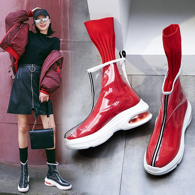 COURTNIE PVC SOCK SNEAKER ANKLE BOOTS