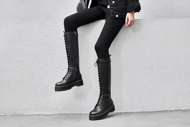 lace up knee high boots style
