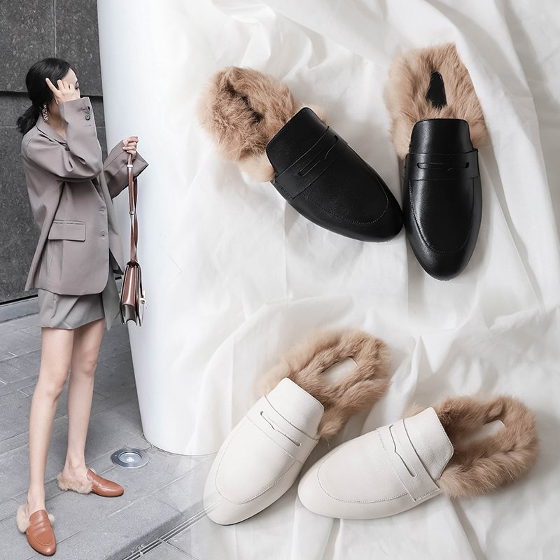 DAWSON FUR LINED LOAFER MULES