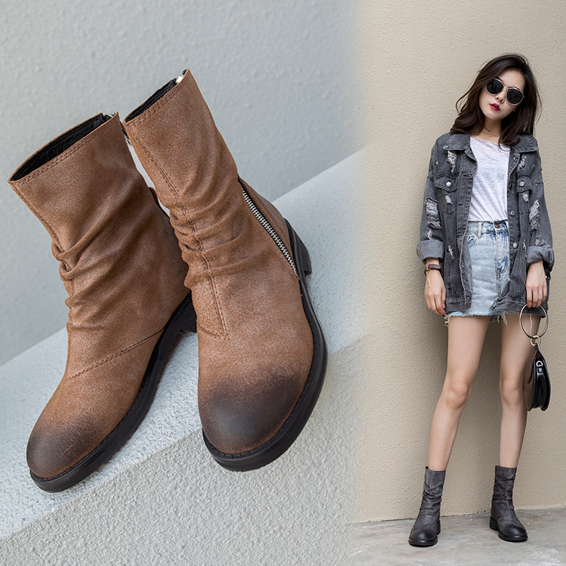 DAYSI ZIPPER ANKLE BOOTS