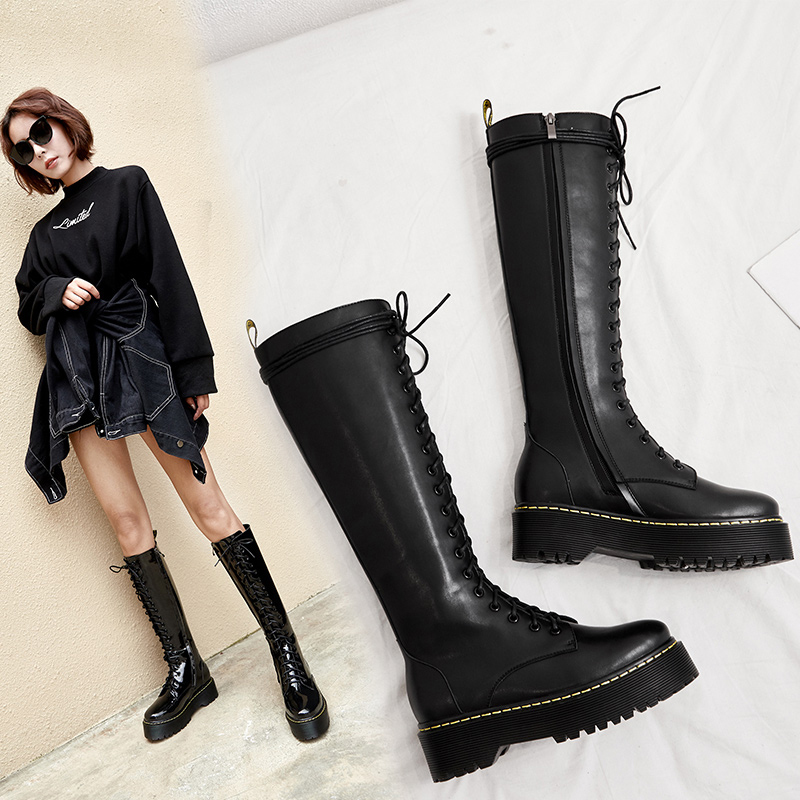 DEABORN LACE UP KNEE HIGH BOOTS