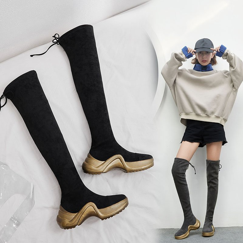 DEANA THIGH HIGH SNEAKER SOCK BOOTS