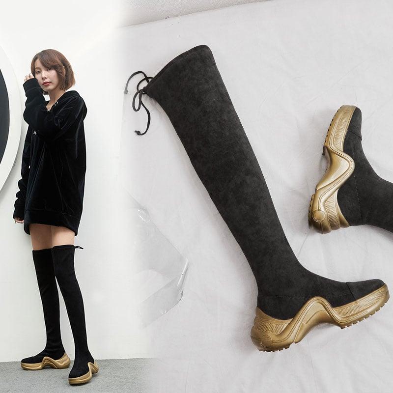DEANA THIGH HIGH SNEAKER SOCK BOOTS