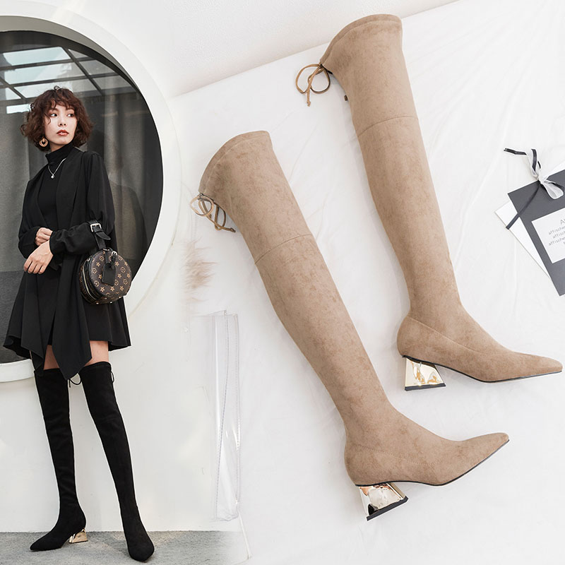 DEEMS METALLIC HEEL THIGH HIGH SOCK BOOTS