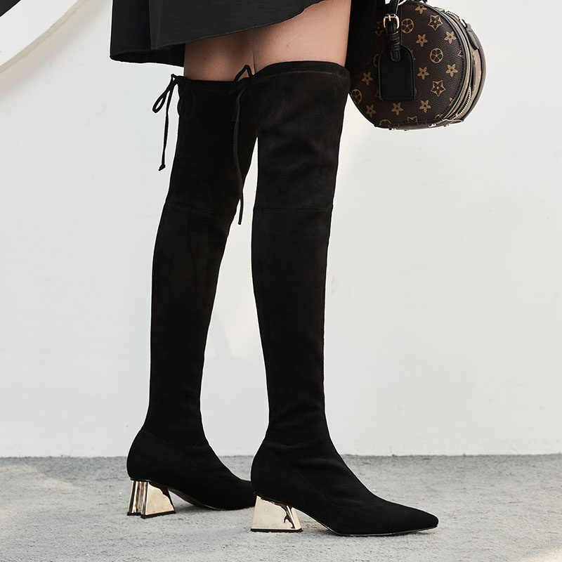 Chiko Deems Metallic Heel Thigh High Sock Boots