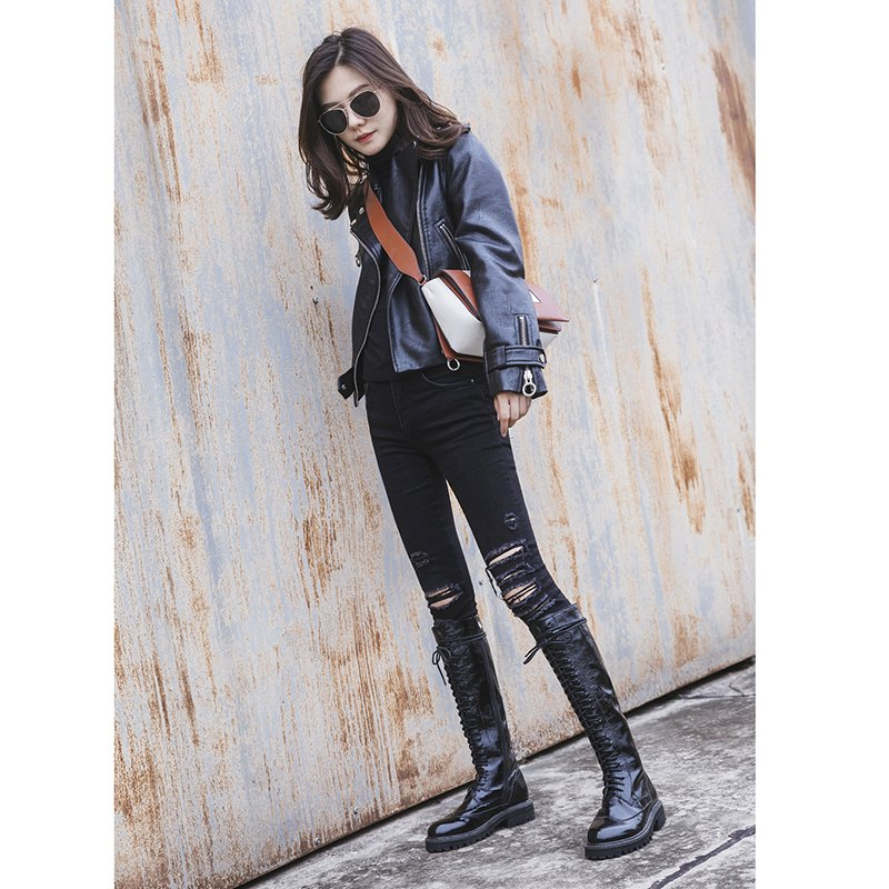 DARNELLE LACE UP KNEE HIGH BOOTS