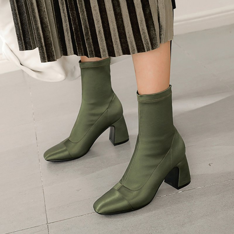 DARREL SATIN SOCK ANKLE BOOTS