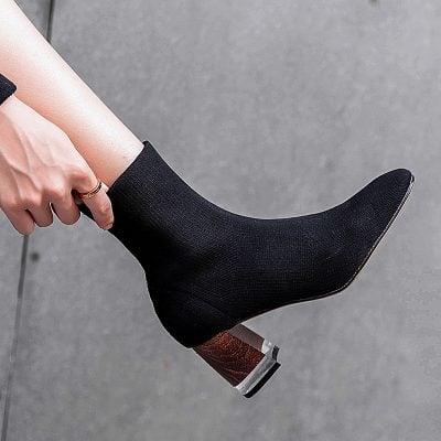Chiko Delton Lucite Heel Sock Boots