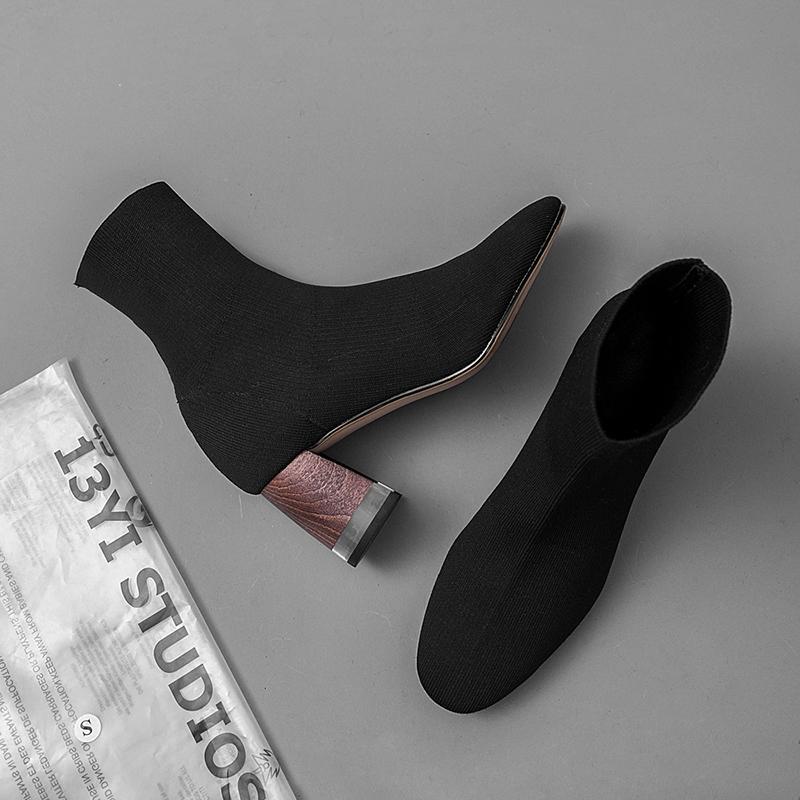 DELTON LUCITE HEEL SOCK BOOTS