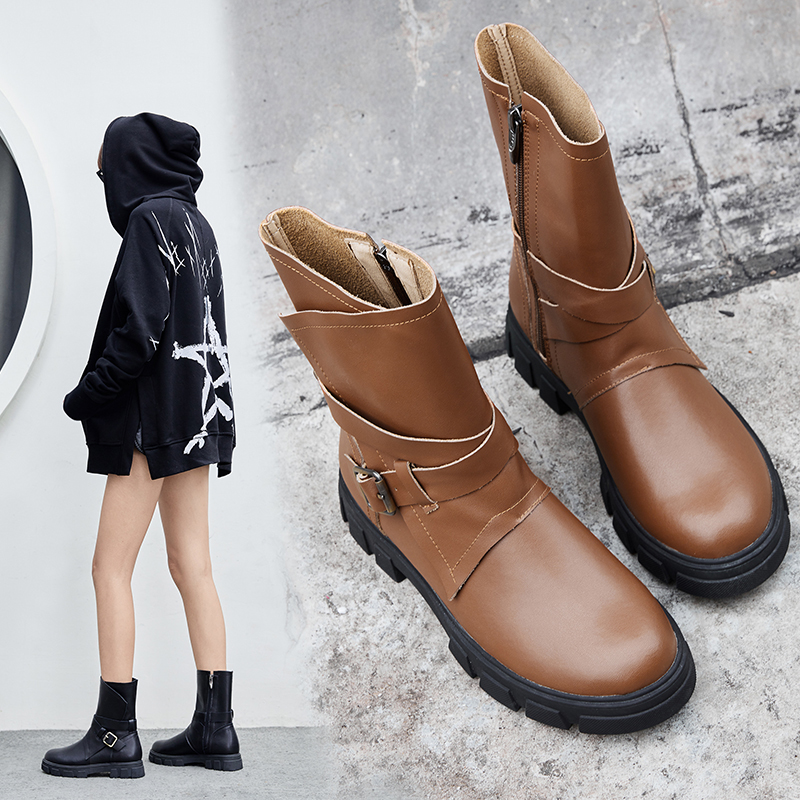 DEONA BUCKLED MOTO ANKLE BOOTS