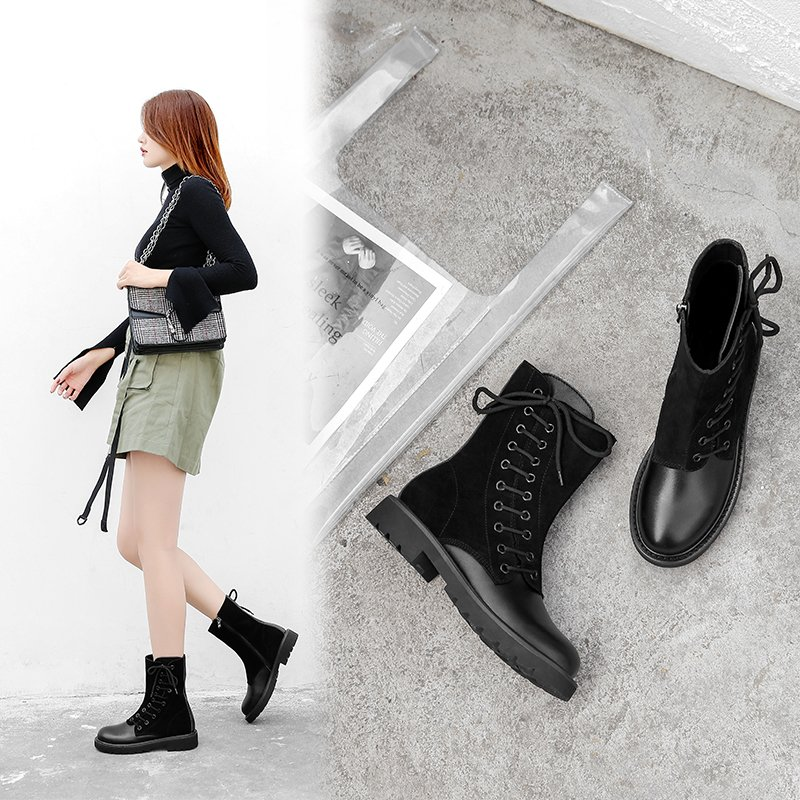 DOMINO COMBAT ANKLE BOOTS