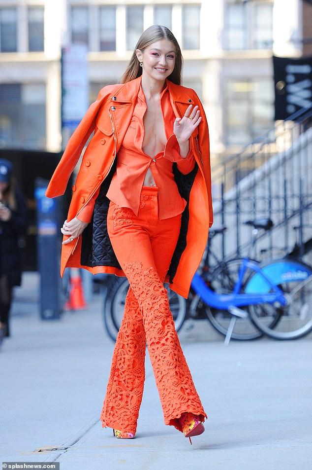 Gigi Hadid orange suit pantone 2019
