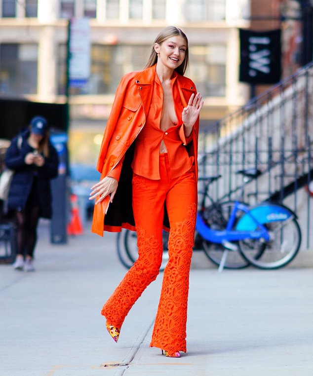 Gigi Hadid orange suit pantone color 2019