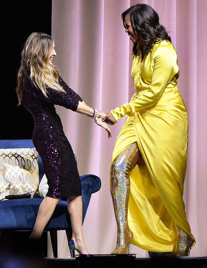 Michelle-Obama-Balenciaga-glitter-boots-party-style