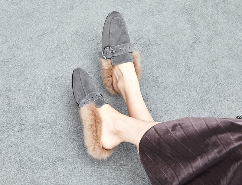 best fur lined loafer mules