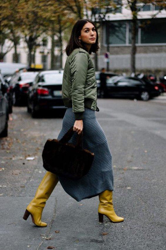 Yellow boots street style
