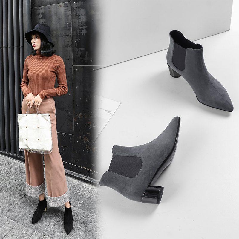 Chiko Dur Metallic Heel Ankle Boots