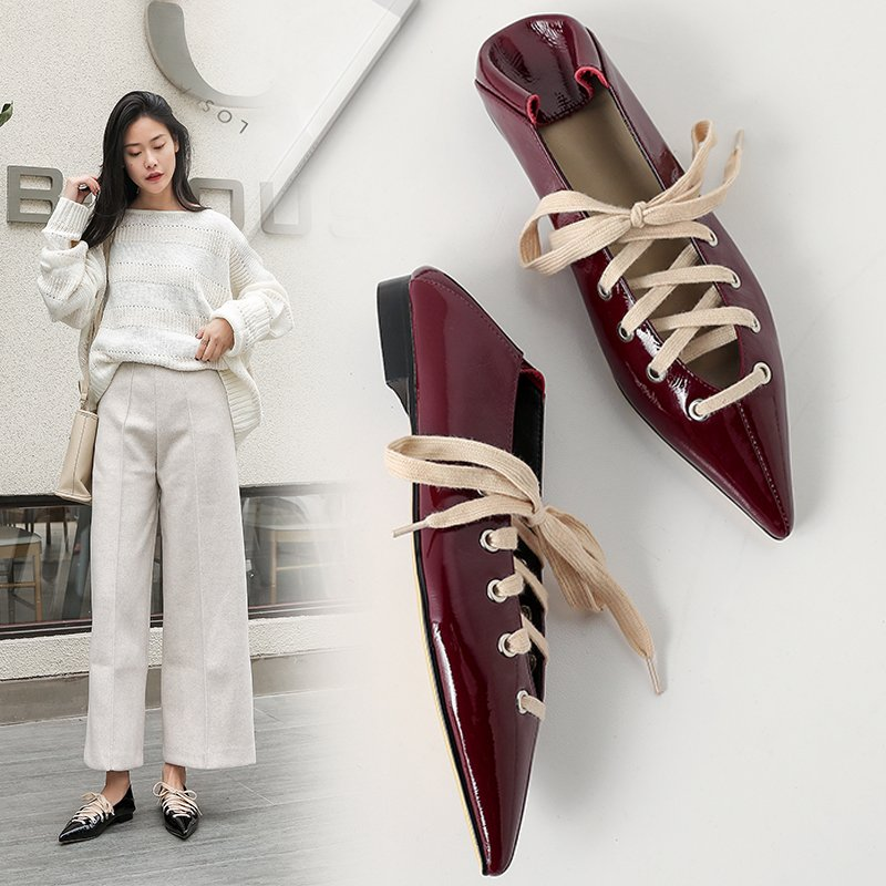 EDIE LACE UP FLAT MULES