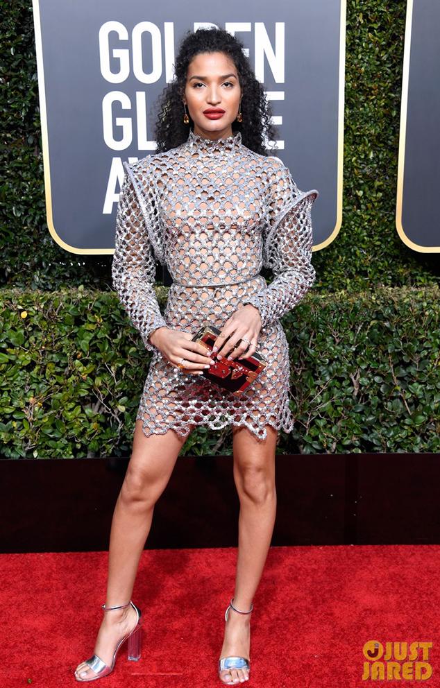 Indya Moore golden globes red carpet shoes