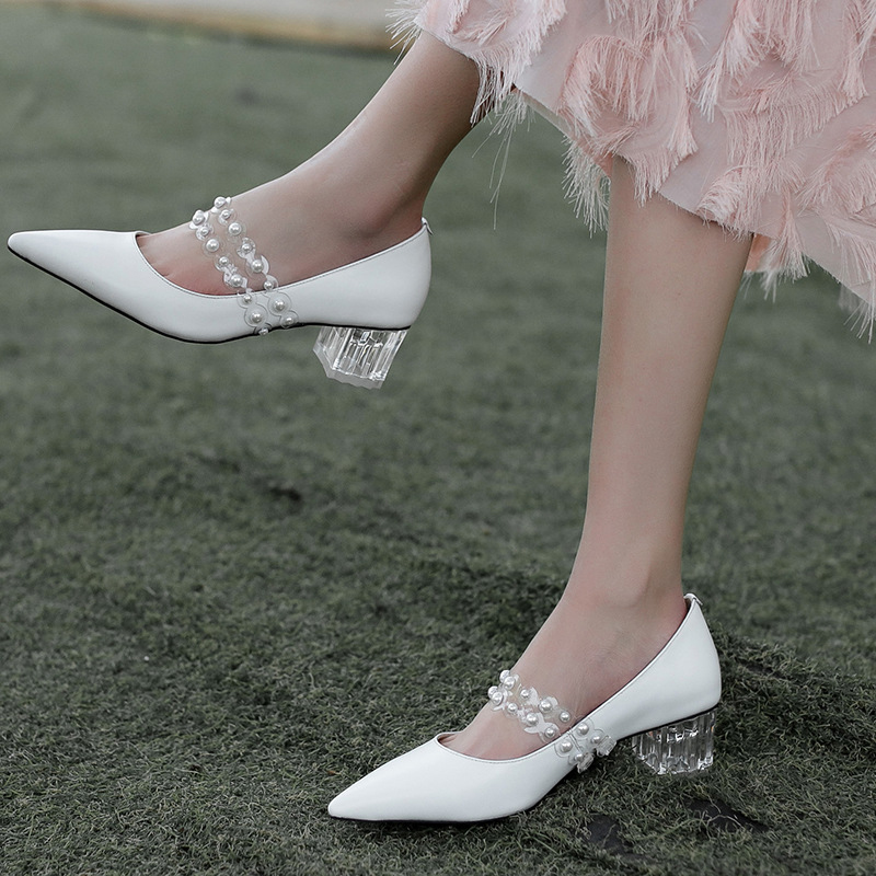 FAREN PVC PEARL MARY-JANE PUMPS