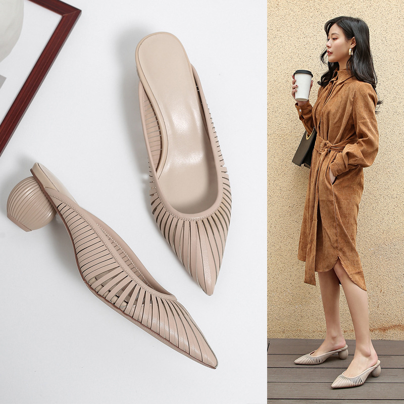 FARON SCULPTURAL HEEL POINTED MULES