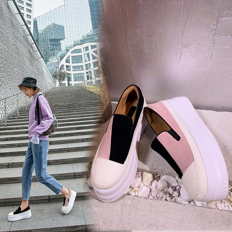 EVAN MISMATCH TWO TONE FLATFORM LOAFERS