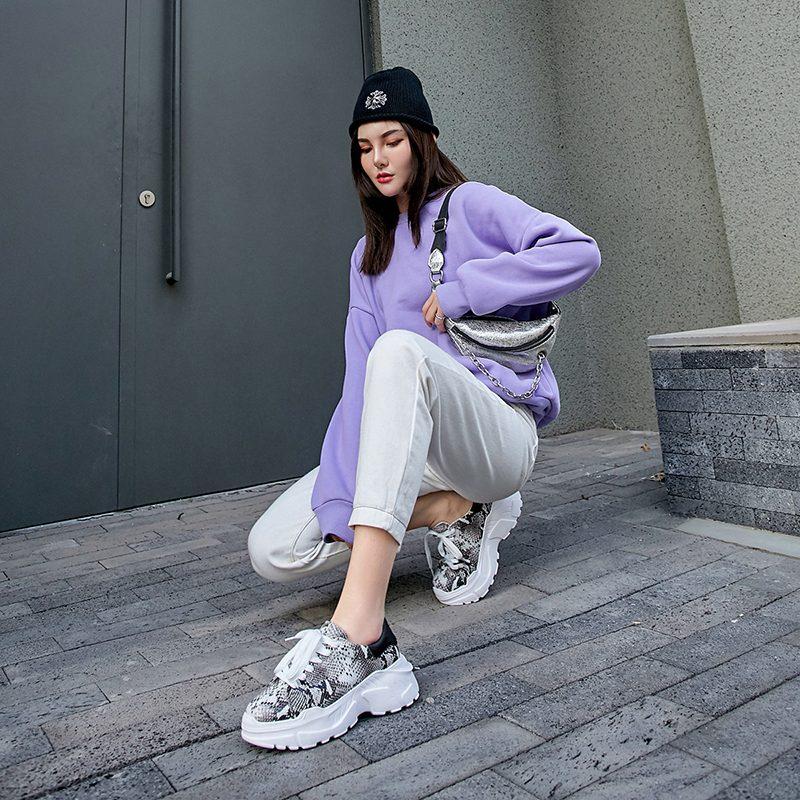 Chiko Elliott Snake Print Platform Dad Sneakers