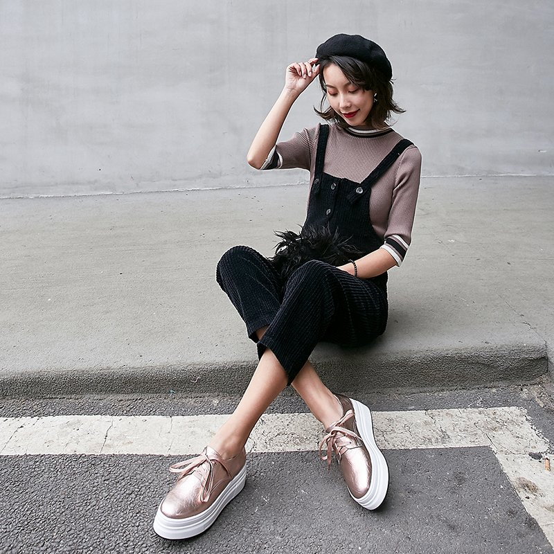 Elysa Metallic Flatform Oxfords