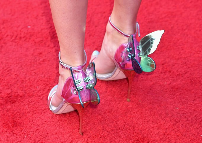 Taylor Swift metallic shoes