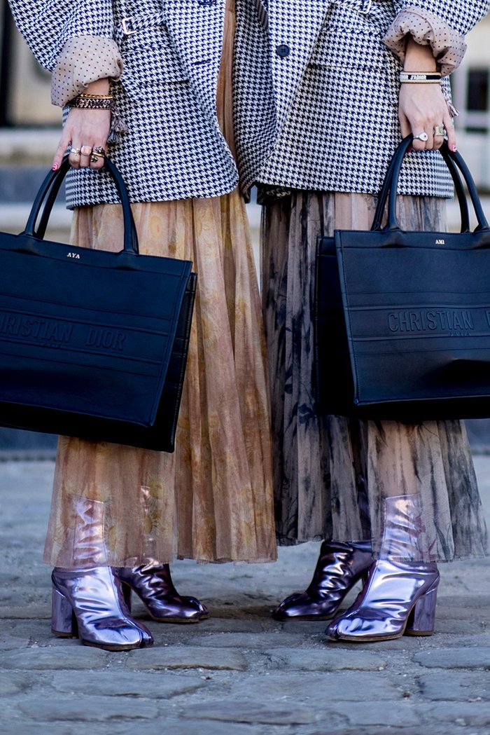 metallic glossy shoe trend
