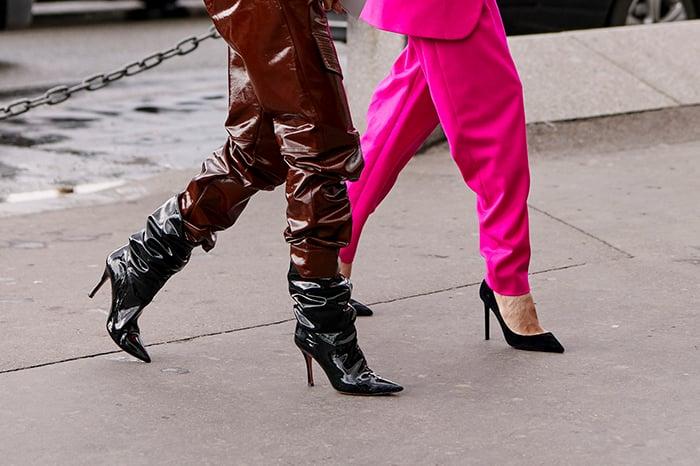 metallic glossy shoe trend