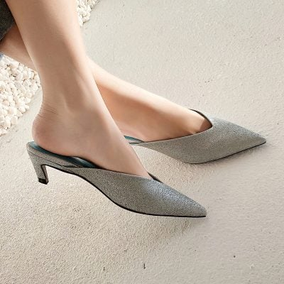 Chiko Farrar Kitten Heel Metallic Pointed Mules