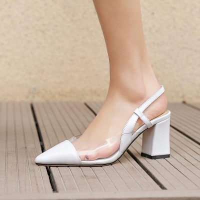 Chiko Goldie Pointed Toe Block Heels Sling-back Pumps