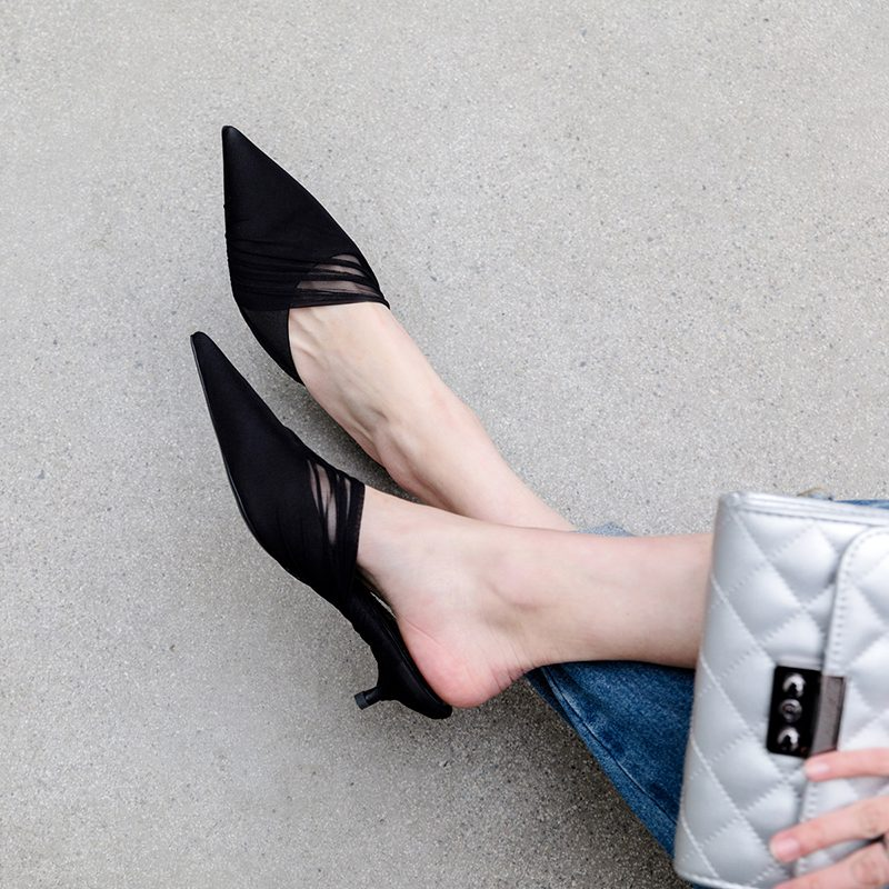 Chiko Graceann Pointed Toe Kitten Heels Clogs/Mules
