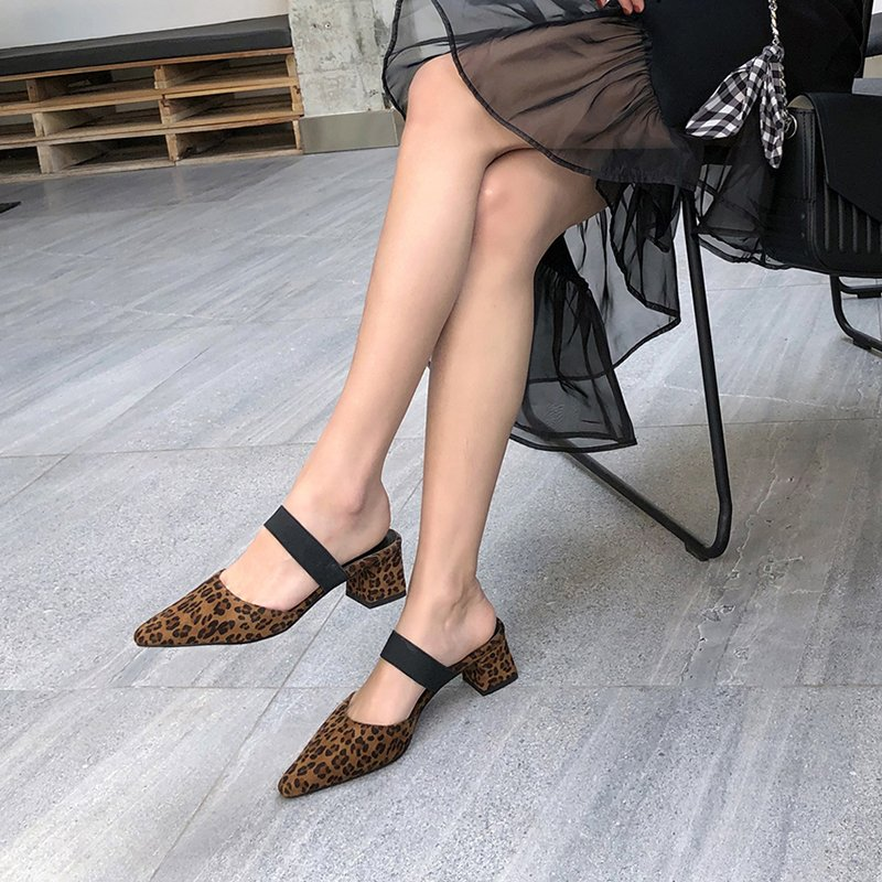 HARLENE SQUARE TOE BLOCK HEELS CLOGS/MULES