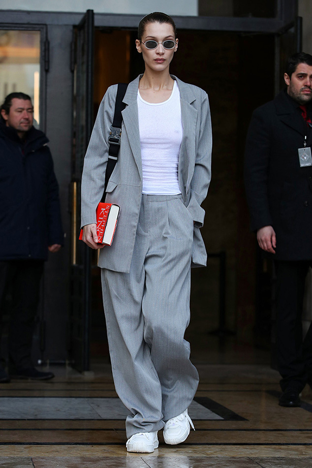 Bella Hadid business suit sneaker style