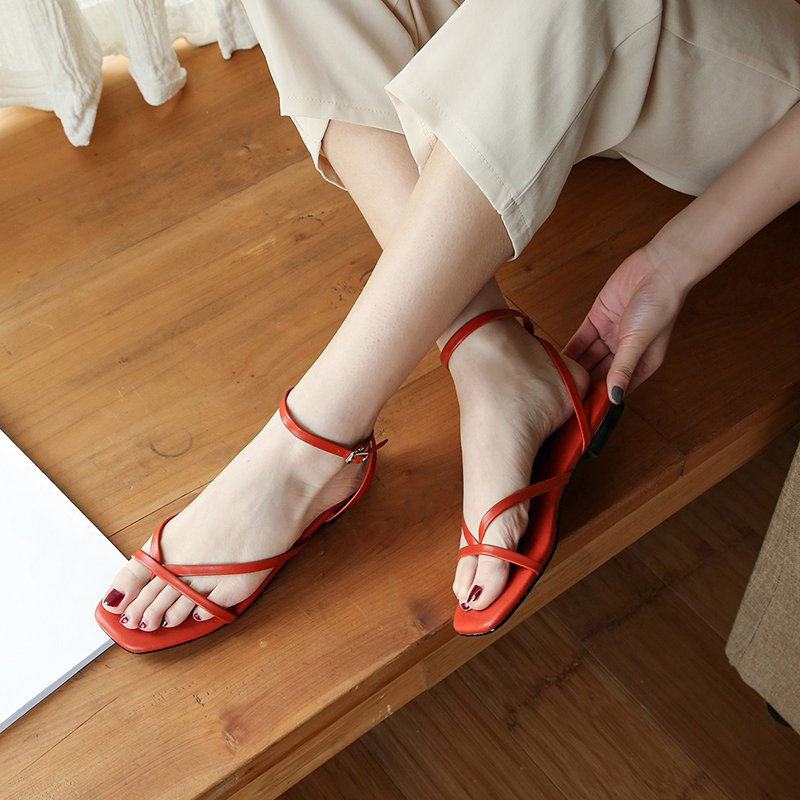 LEIGHA OPEN TOE BLOCK HEELS SANDALS