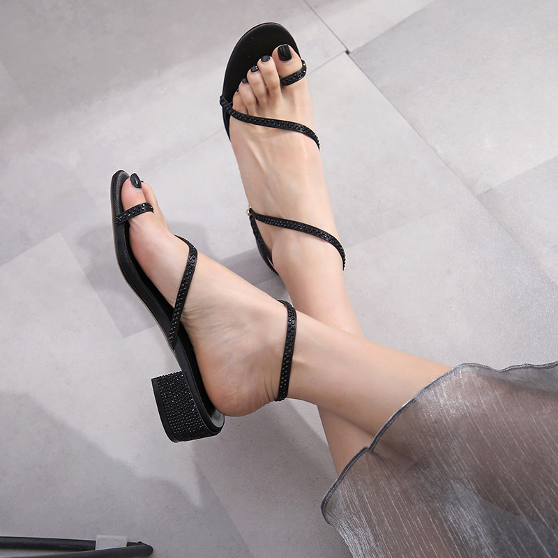 STAR OPEN TOE BLOCK HEELS SANDALS
