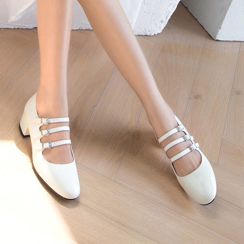 Chiko Berger Round Toe Block Heels Pumps