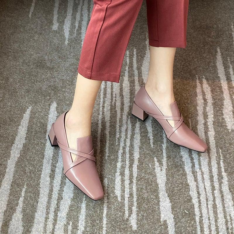 Chiko Acacia Square Toe Block Heels Loafer