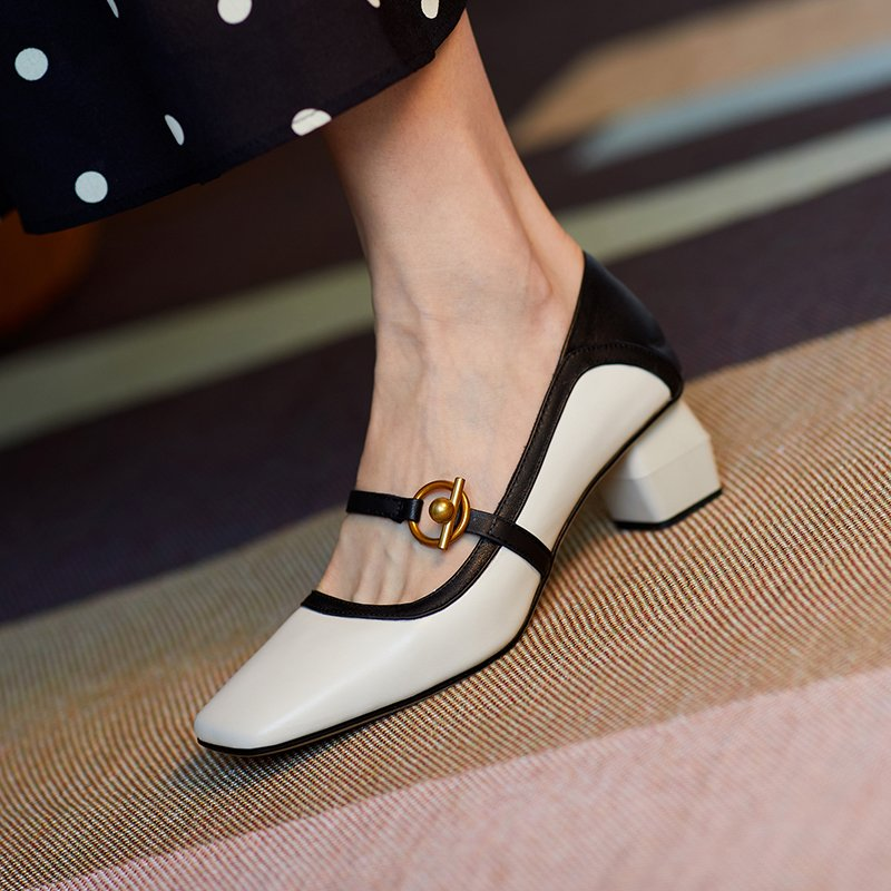 Chiko Nerine Square Toe Block Heels Pumps