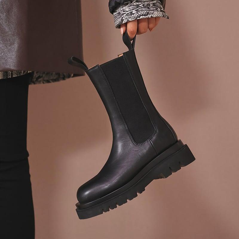 Chiko Herb Round Toe Block Heels Boots