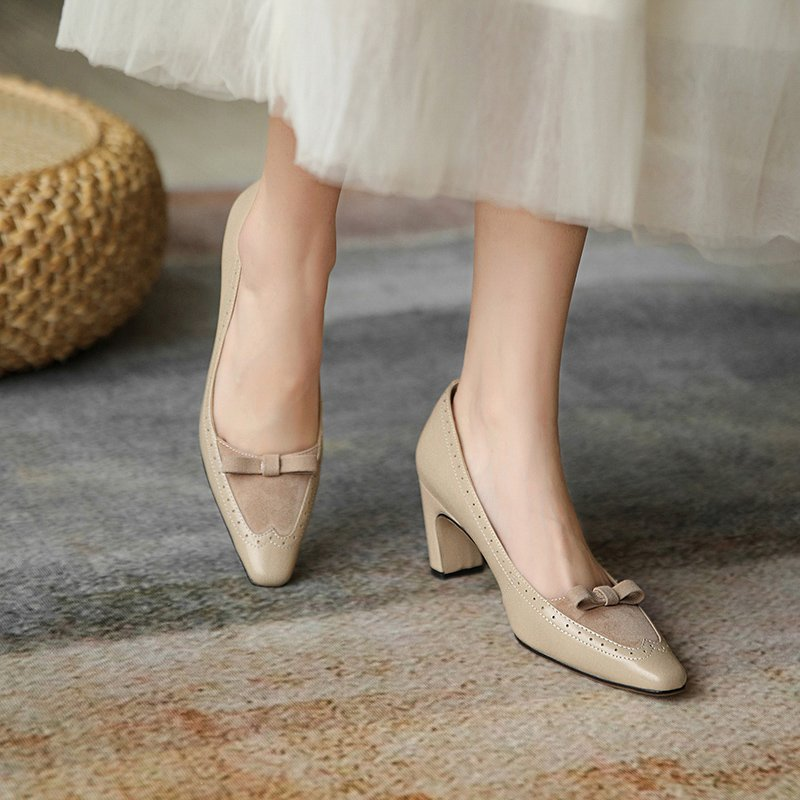 Chiko Sapphira Square Toe Curved Heels Pumps