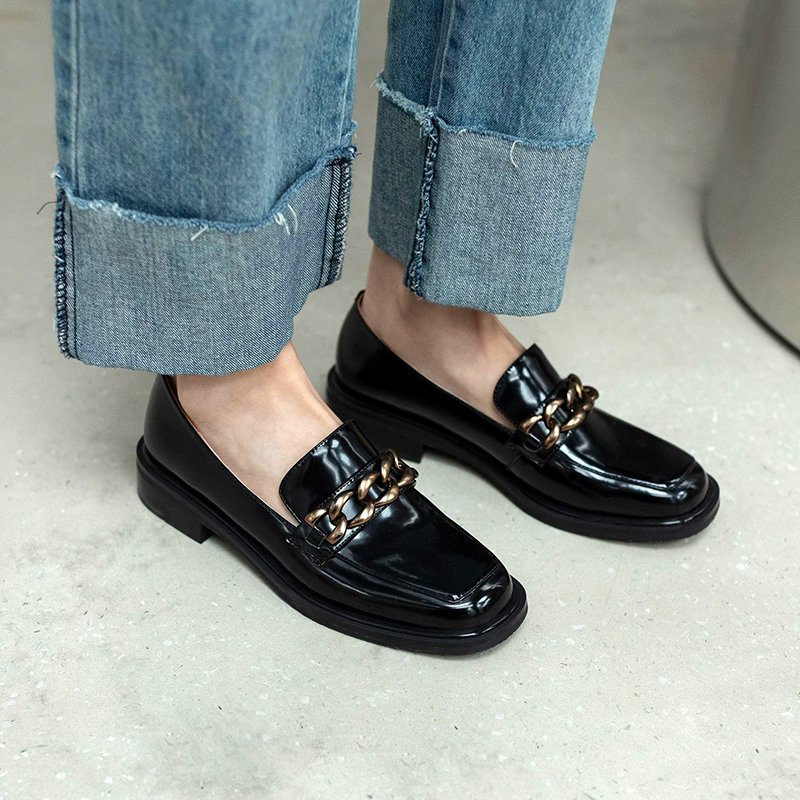 Chiko Vardina Square Toe Block Heels Loafer