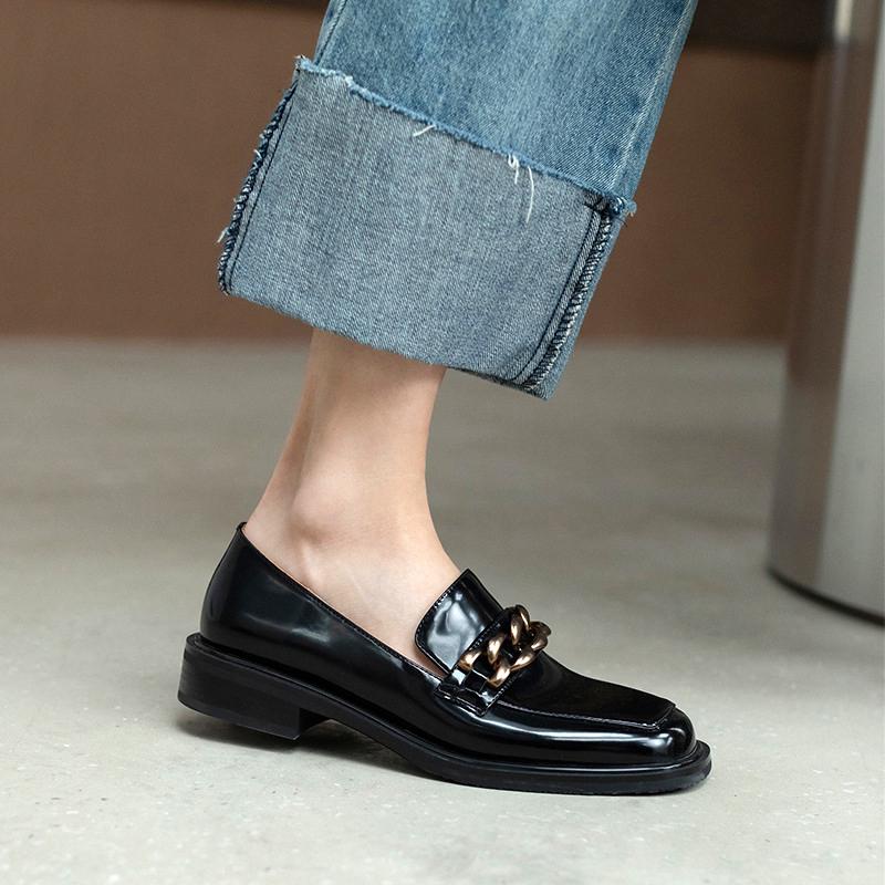 Chiko Vardina Square Toe Block Heels Loafer