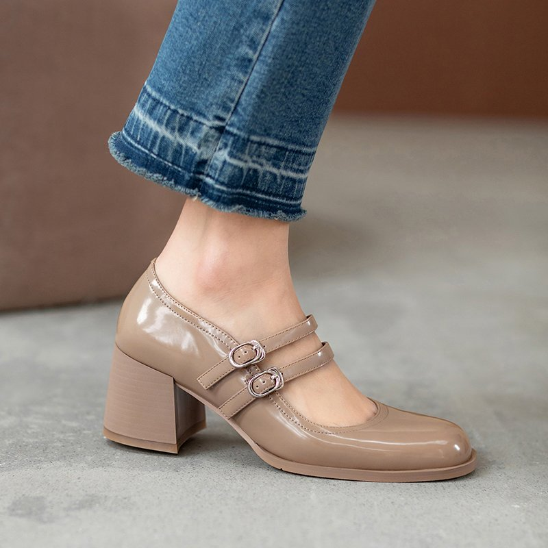 Chiko Tamera Square Toe Block Heels Pumps