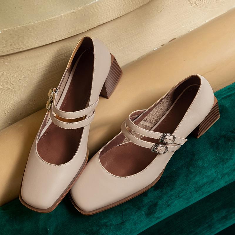 Chiko Tammy Square Toe Block Heels Pumps