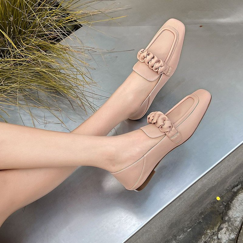Chiko Ratri Square Toe Block Heels Loafer