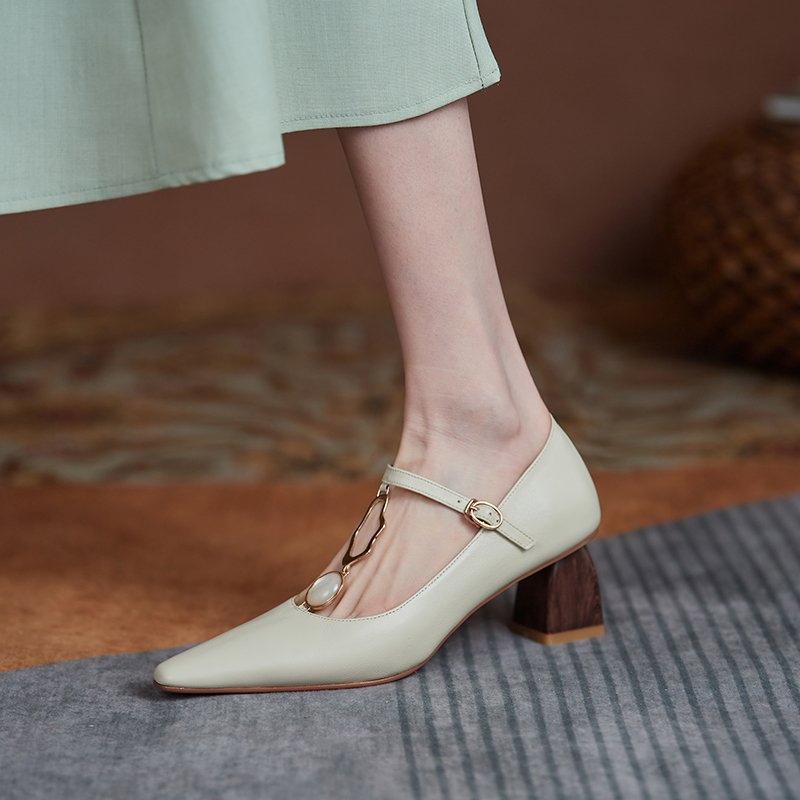 Chiko Devi Square Toe Block Heels Pumps